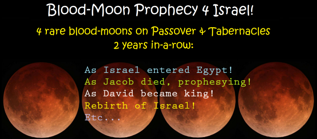 Blood-Moon Prophecy four Israel. Lunar-Eclipse Tetrads on Passover and Tabernacles.