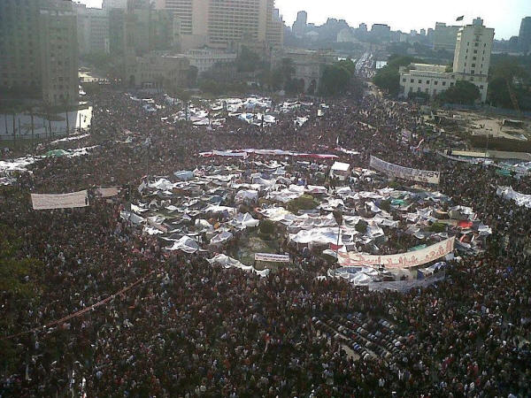 Tahrir Square during 8 February 2011. In tents like at feast of Tabernacles.