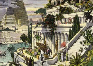 "Famous hanging garden of Babylon with tower of Babel in background. ""The fame of Babylon extends like a plant..."""