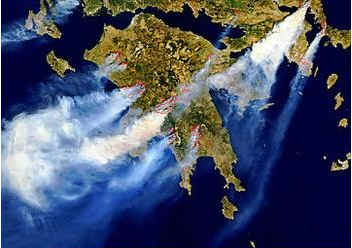 Fires in Greece. Image by NASA