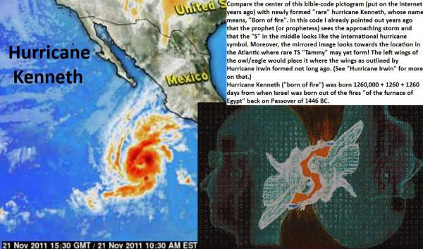 Hurricane Kenneth forms on day predicted as from 1260000 +1260 + 1260 days from when Israel came out of Egypt.