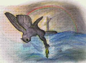 Jesus walking on the water towards the sail/cross, and the owl swooping Him up.